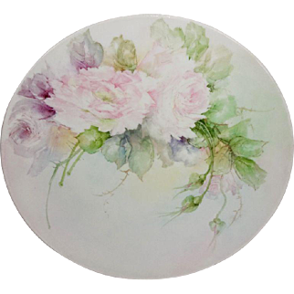 Vintage French Limoges Hand Painted Charger Pink Roses