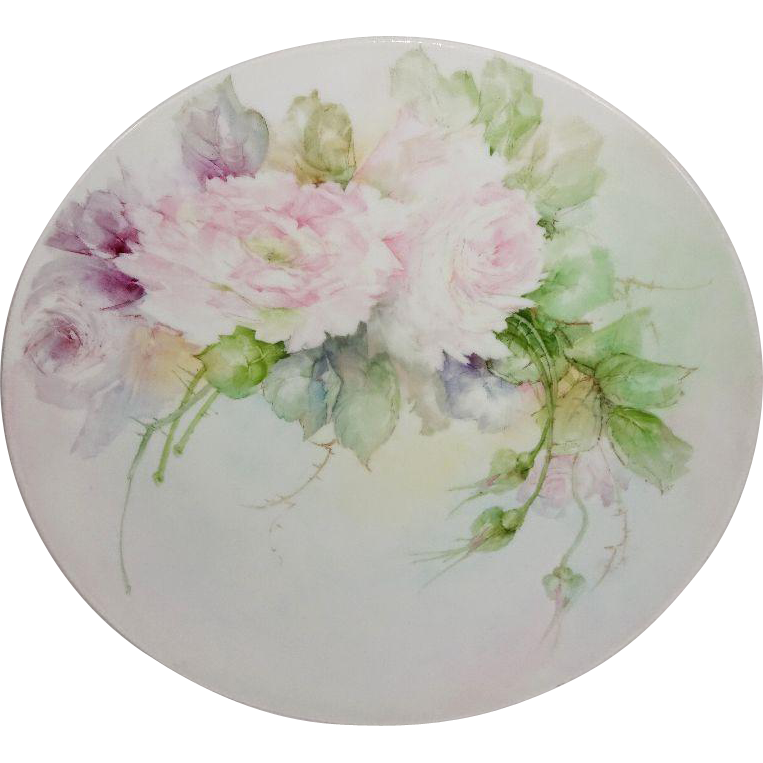 Stunning French Limoges Hand Painted Charger Pink Roses