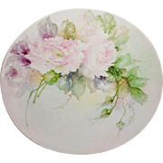 JPL Limoges Charger Plate Tray Hand Painted Pink Roses