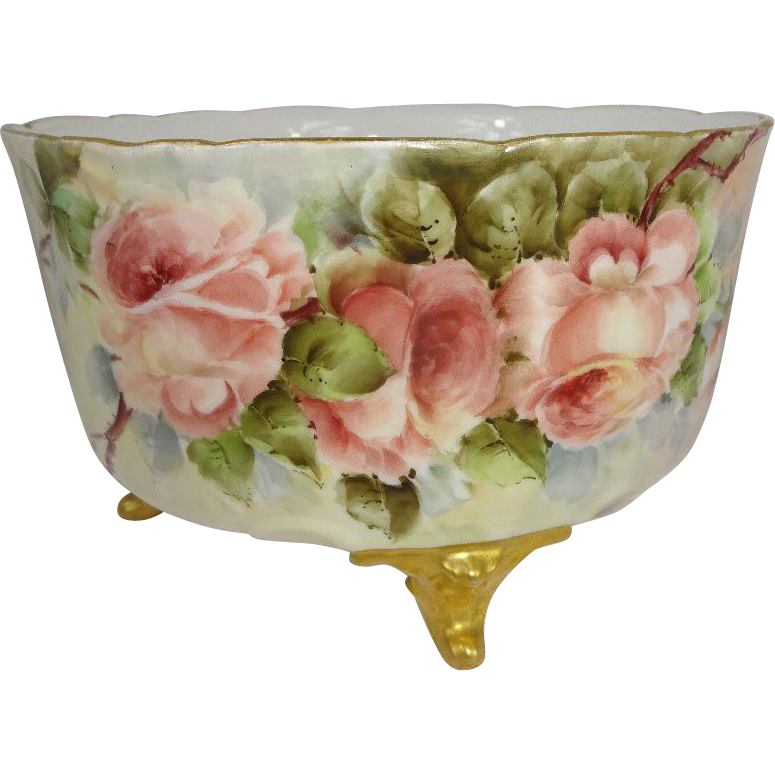 Antique Limoges France Footed Ferner Jardiniere Hand Painted Roses