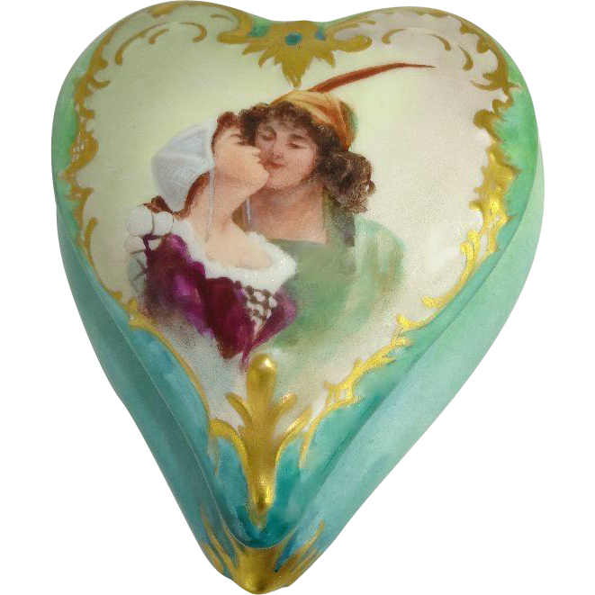 Porcelain Heart Trinket Jar Box with Hand Painted Portrait