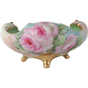 Vintage Bavaria Footed Bowl Hand Painted Pink Tea Roses