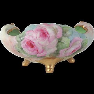 Vintage Bavaria Footed Bowl Hand Painted Pink Tea Roses