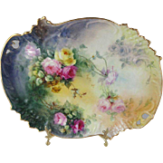 French Antique Limoges Tray with Beautiful Hand Painted Tea Roses