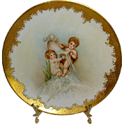 Antique French GDA Limoges Hand Painted Plate with Cherubs Artist Signed