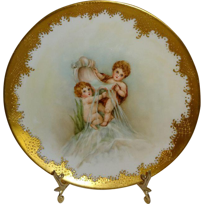 Antique French Limoges Hand Painted Plate Cherubs Artist Signed