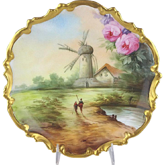 Antique Limoges Scenic Hand Painted Plaque Artist Signed