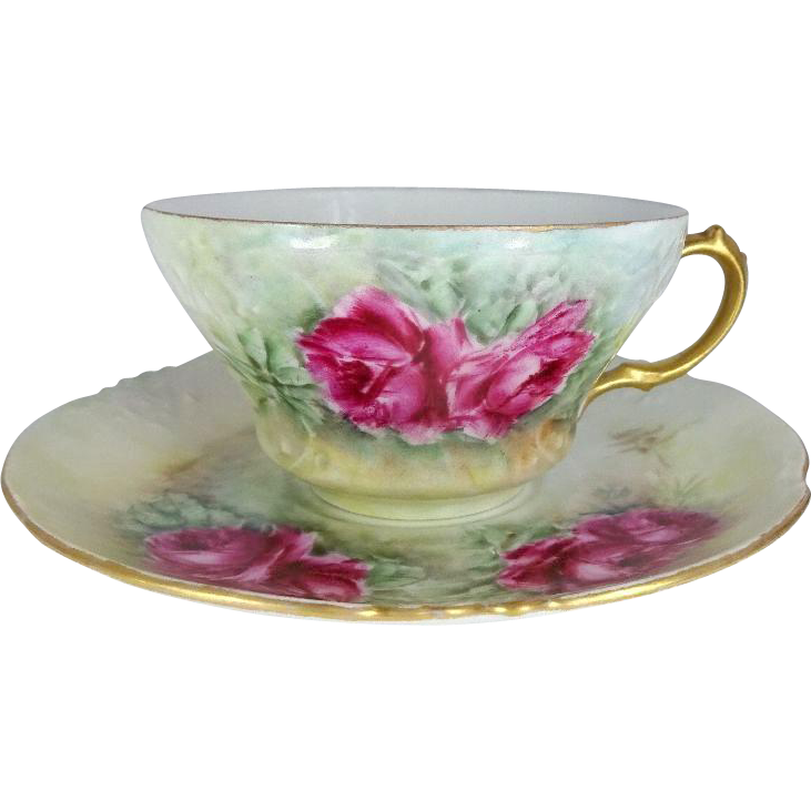 Stunning Cup Saucer with Hand Painted Tea Roses Coin Gold Accents