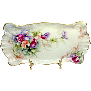French Antique Limoges Tray Hand Painted Sweet Peas Artist Signed