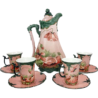 Stunning Chocolate Pot with 4 Cups Saucers Hand Painted Poppies