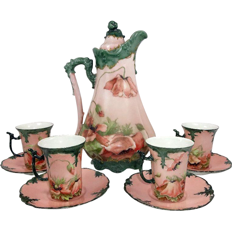 German Chocolate Pot  4 Limoges Cups Saucers Hand Painted Poppies