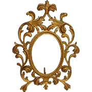 Antique French Gold Metal Rococo Oval Photo Frame Stand Up Easel