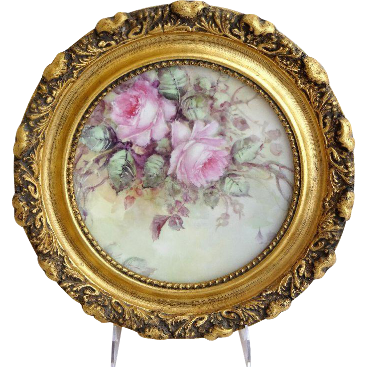 Antique French Limoges Framed Hand Painted Plate Pink Tea Roses