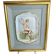 Framed Porcelain Tray with Hand Painted Portrait Figural Fairy