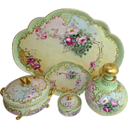 Limoges Rosenthal Hand Painted Roses and Jeweled Vanity Set Signed