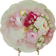 Antique French Limoges Plate with Hand Painted Tea Roses Signed