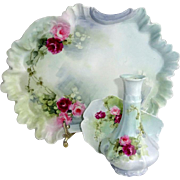 French Limoges Vanity Tray Vase Trinket Dish Hand Painted Roses