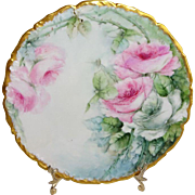 Antique French Limoges Porcelain Plate with Hand Painted Pink Roses