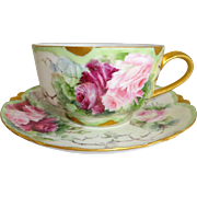 Haviland Limoges Cup Saucer Hand Painted Pink Tea Roses Signed