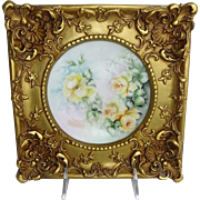 French Limoges Framed Hand Painted Plate Yellow Tea Roses