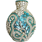 Stunning OOAK Vintage Bottle Vase Embellished with Rhinestones