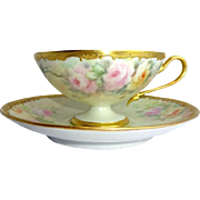 JPL French Limoges Cup Saucer Hand Painted Tea Roses