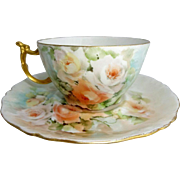JPL Limoges Cup Saucer Hand Painted Multicolored Tea Roses