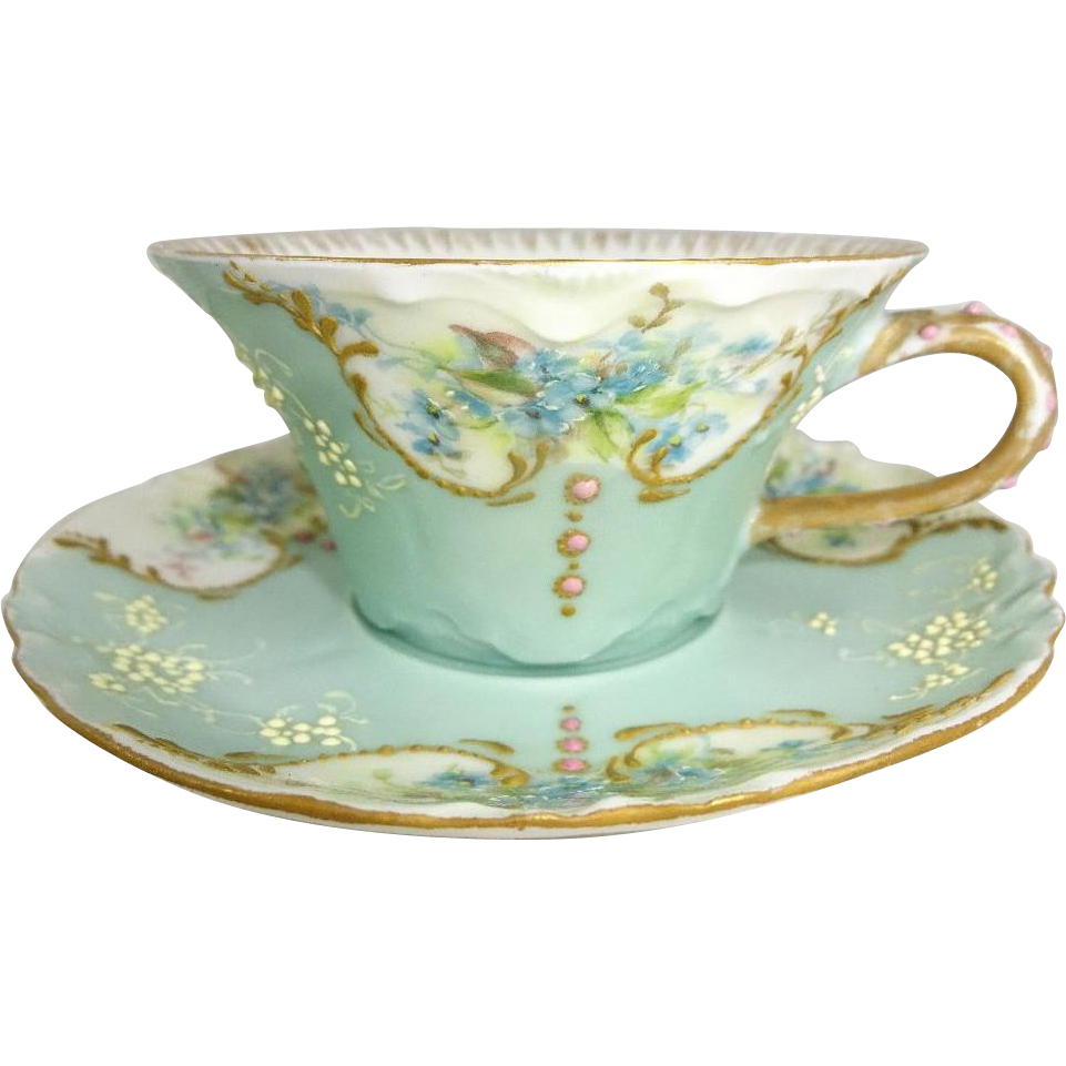 Antique Haviland Limoges Jeweled Cup Saucer Hand Painted