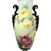 "Antique French Limoges 13 1/2"" Vase Hand Painted Roses"