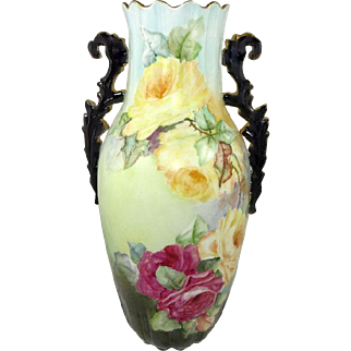 """Antique French Limoges 13 1/2"""" Vase Hand Painted Roses"""