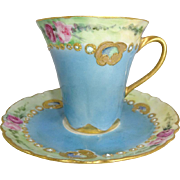 Haviland Limoges Chocolate Cup Saucer Hand Painted Roses  Jeweled Signed