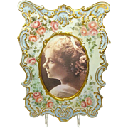 Antique French Limoges Picture Frame Hand Painted Signed Dated 1896