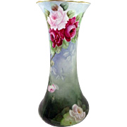 "Antique French Limoges 13"" Trumpet Vase Hand Painted Roses"