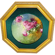 Framed Limoges Plate Hand Painted Roses Famous Artist Signed