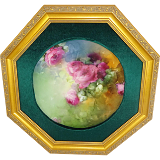 Framed Antique Limoges Plate Hand Painted Roses Famous Artist Signed