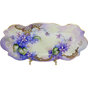 Limoges France Antique Tray Hand Painted Purple Violets
