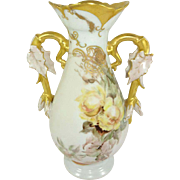 Antique French Limoges Vase Hand Painted Roses Signed Dated