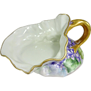 French Limoges Ladies Spittoon Cuspidor Hand Painted Violets Signed