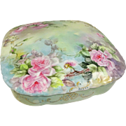 Antique French Limoges Porcelain Box Hand Painted Pink Roses