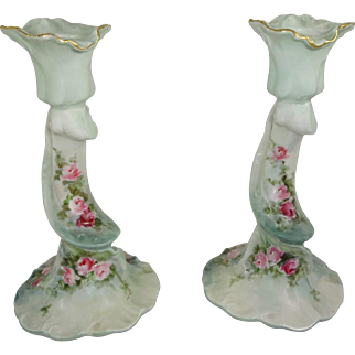 Limoges Candlesticks Hand Painted Tea Roses Signed Dated 1904