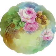 French Limoges Plate Hand Painted Pink Roses Artist Signed
