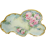 Antique French Limoges Tray Hand Painted Pink Tea Roses