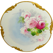 Antique French Limoges Plate Hand Painted Pink Roses Signed Duval