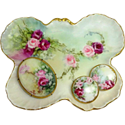 Limoges Trinket Tray ~ Brooch ~ Buttons Hand Painted Pink Roses