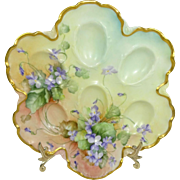 Antique Haviland Limoges Egg Tray Hand Painted Purple Violets