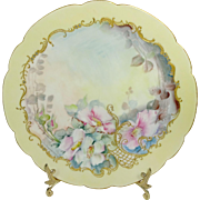 Antique Limoges Plate Hand Painted Roses Jewels Signed Dated 1898