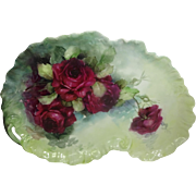 Guerin French Limoges Tray Hand Painted Scarlet Roses
