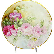 Antique French Limoges Plate Hand Painted Pink Roses Artist Signed