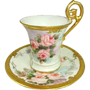 Antique Limoges Cup Saucer Hand Painted Roses Signed Dated 1902