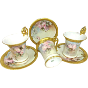 3 Antique Limoges Jeweled Cups Saucers Hand Painted Roses Signed Dated 1900